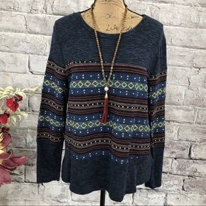 Le Lis For Buckle Boho Aztec Mixed Media Sweater